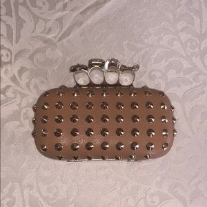 Handbags - Studded Ring Clutch with Removable Chain